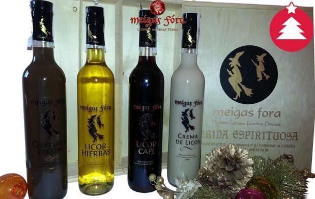 Caja: 4 botellas del mejor licor gallego