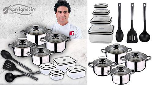 Batería de cocina de 8 piezas, 4 fiambreras y 3 utensilios de cocina San Ignacio