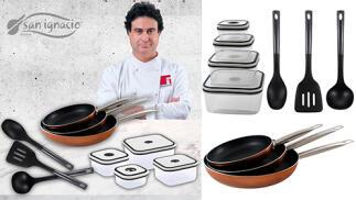 Set de 3 sartenes, 4 fiambreras y 3 utensilios de cocina colección Professional Chef de San Ignacio
