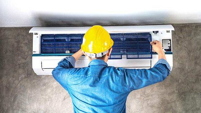 Revisión de aire acondicionado, limpieza y desinfección de filtros
